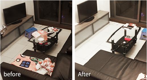 客廳清潔前後對照圖